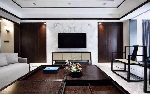 10-15万130平米中式三居室装修效果图,124新中式装修