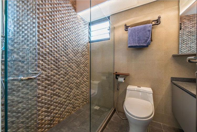 98平时尚工业风装修卫浴间效果图