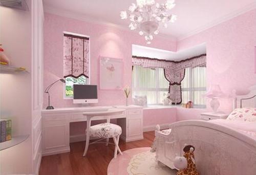 这款女孩卧室,采用木地板加上粉色的墙纸进行搭配,卧室中设计非常图片