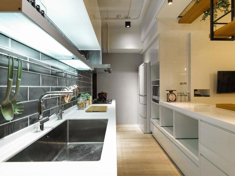 现代简约风格装修厨房实景图