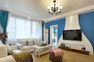 地中海风格三居室装修客厅效果图