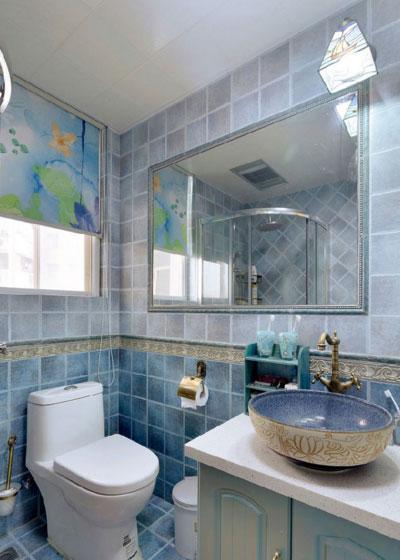 地中海风格三居室装修卫浴间效果图