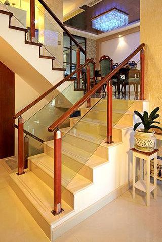 300㎡新中式风格别墅装修楼梯图片