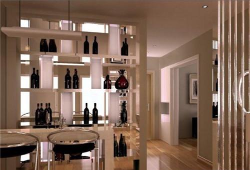 这款酒柜除了起到装饰客厅与储存酒之外,还表现出了一种隔断的效果.