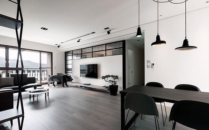 后现代装修风格,北京100㎡二居室温馨大气