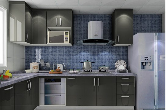 多种颜色的配合,让整个厨房色彩明快了许多.图片