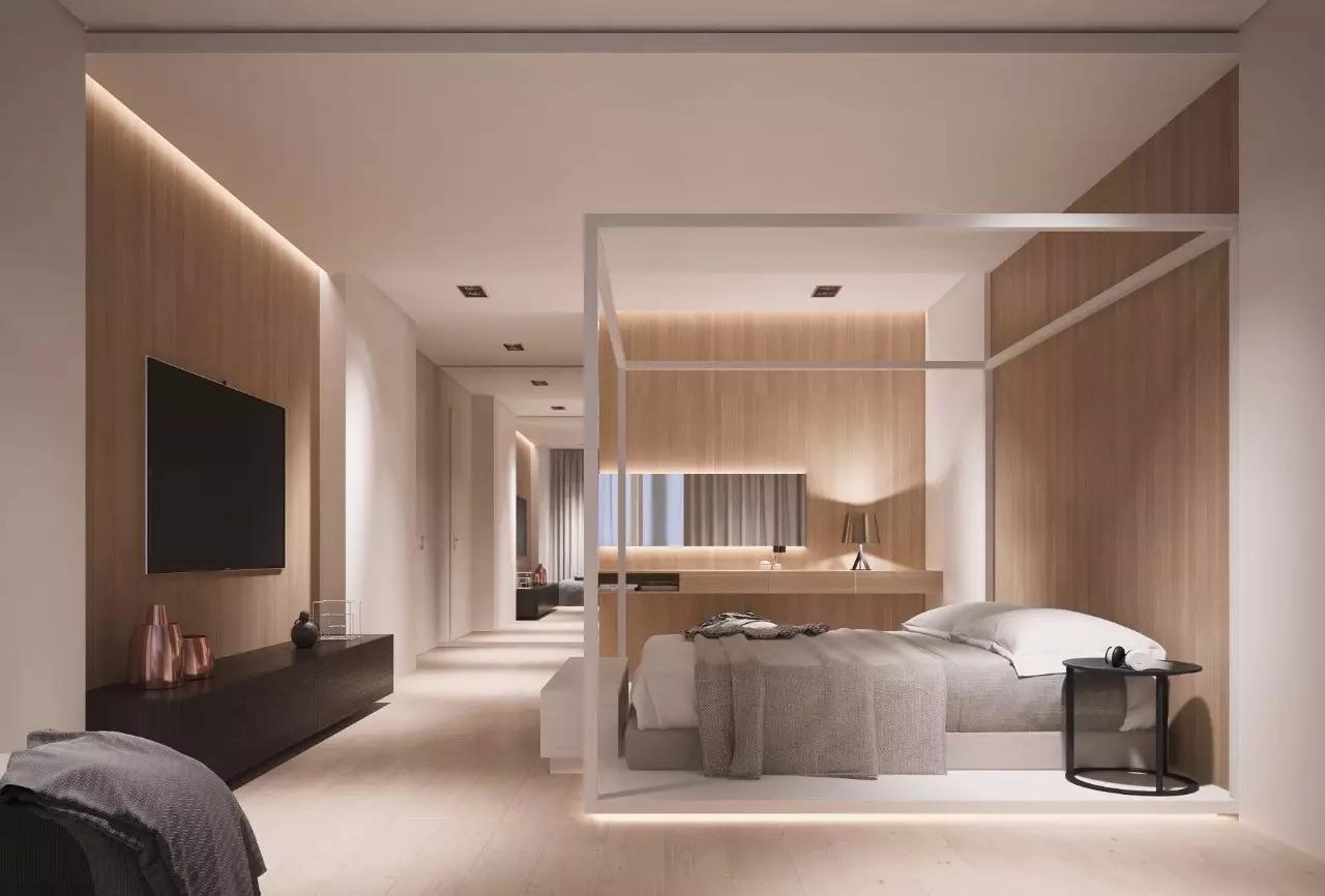 卧室床头的背景墙还能这样设计 只留下这木饰面本身 布置简单 电视墙