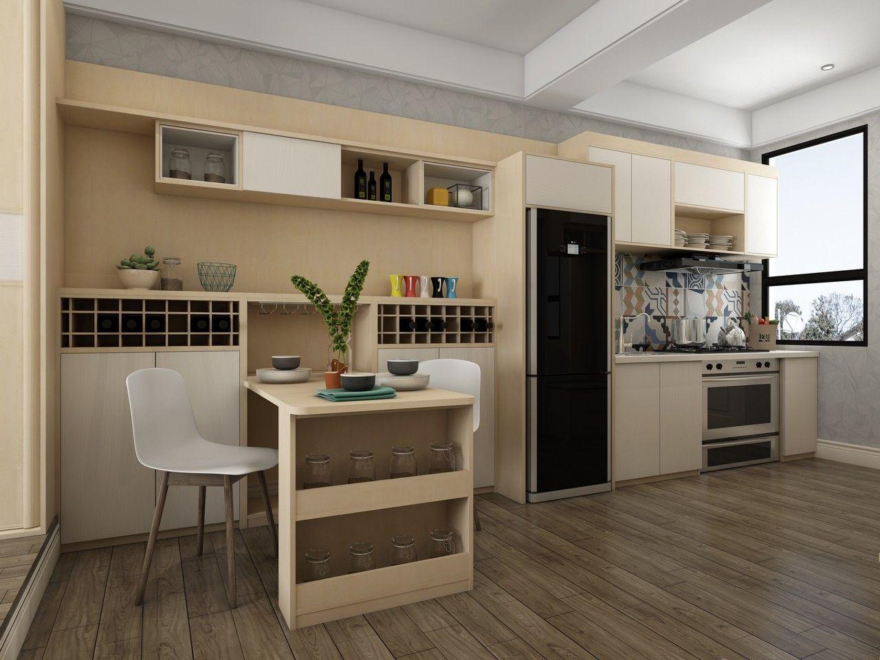 餐厅冰箱酒柜效果图-酒柜和冰箱一体效果图-客厅冰箱隐藏柜效果图图片