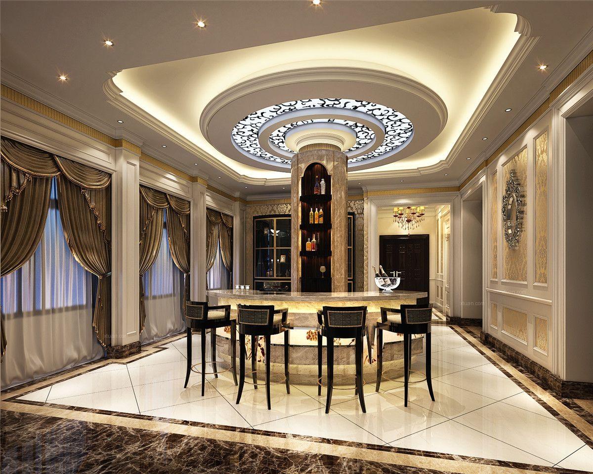 很多家庭客厅都喜欢选择欧式装修,其吊顶最好也选择相对应的欧式风格图片