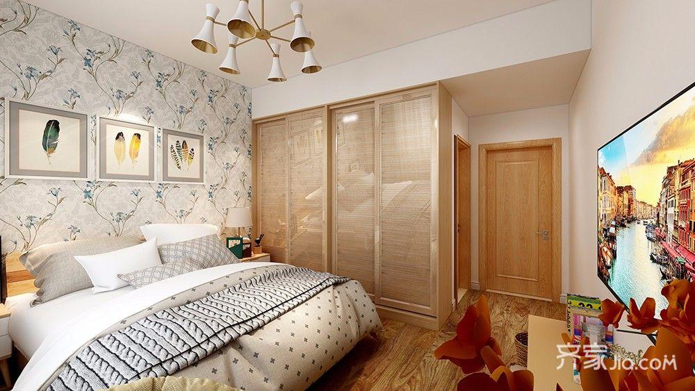 原木色地板,衣柜搭配白色墙面,同时床头背景墙选用绿色鲜花底纹的墙纸