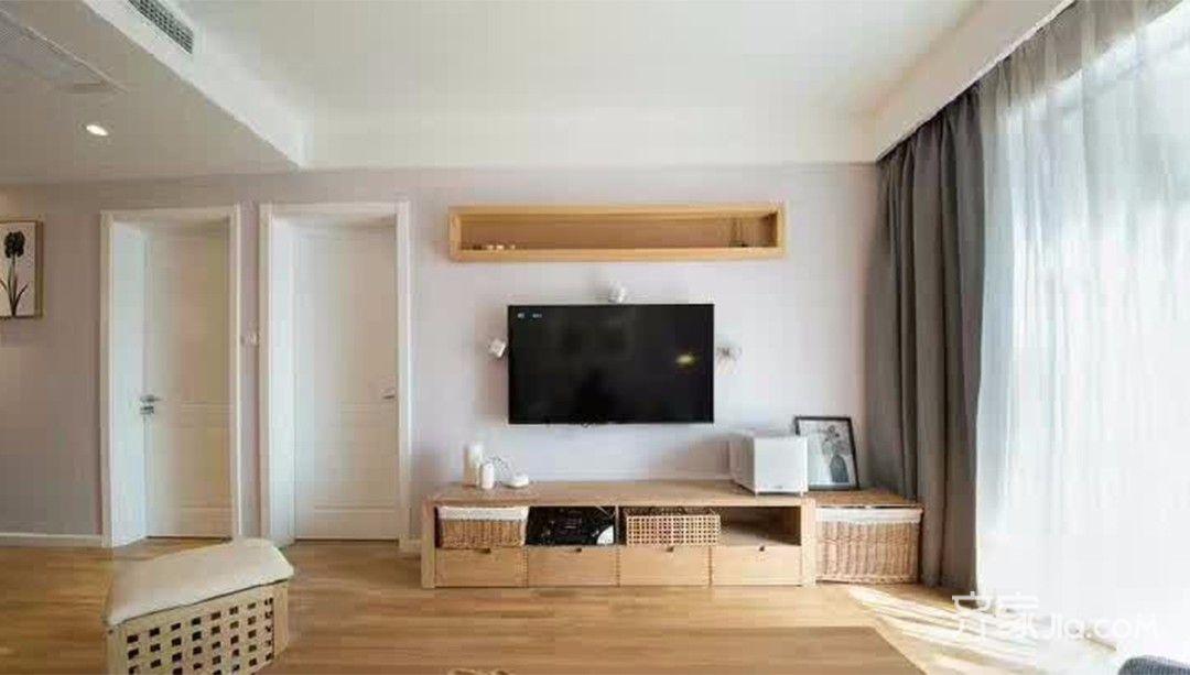 96㎡混搭装修电视背景墙图片