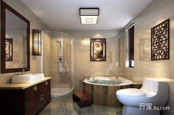 178㎡中式装修卫生间装潢图