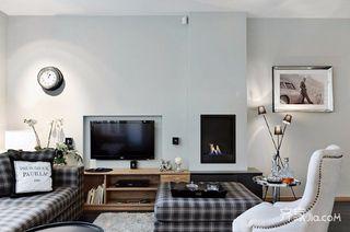 128㎡现代美式家客厅布置图