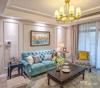 美式三居室设计沙发背景墙图片