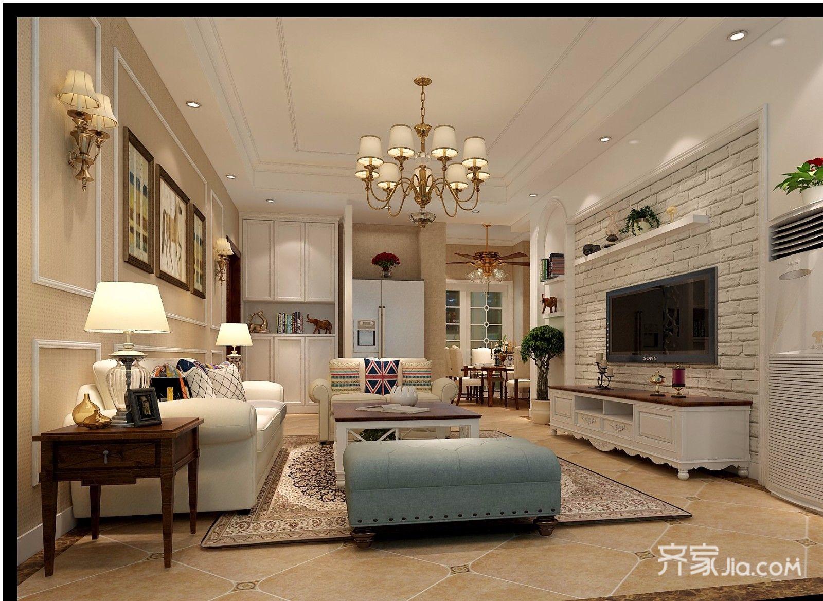 110平混搭风格装修客厅效果图