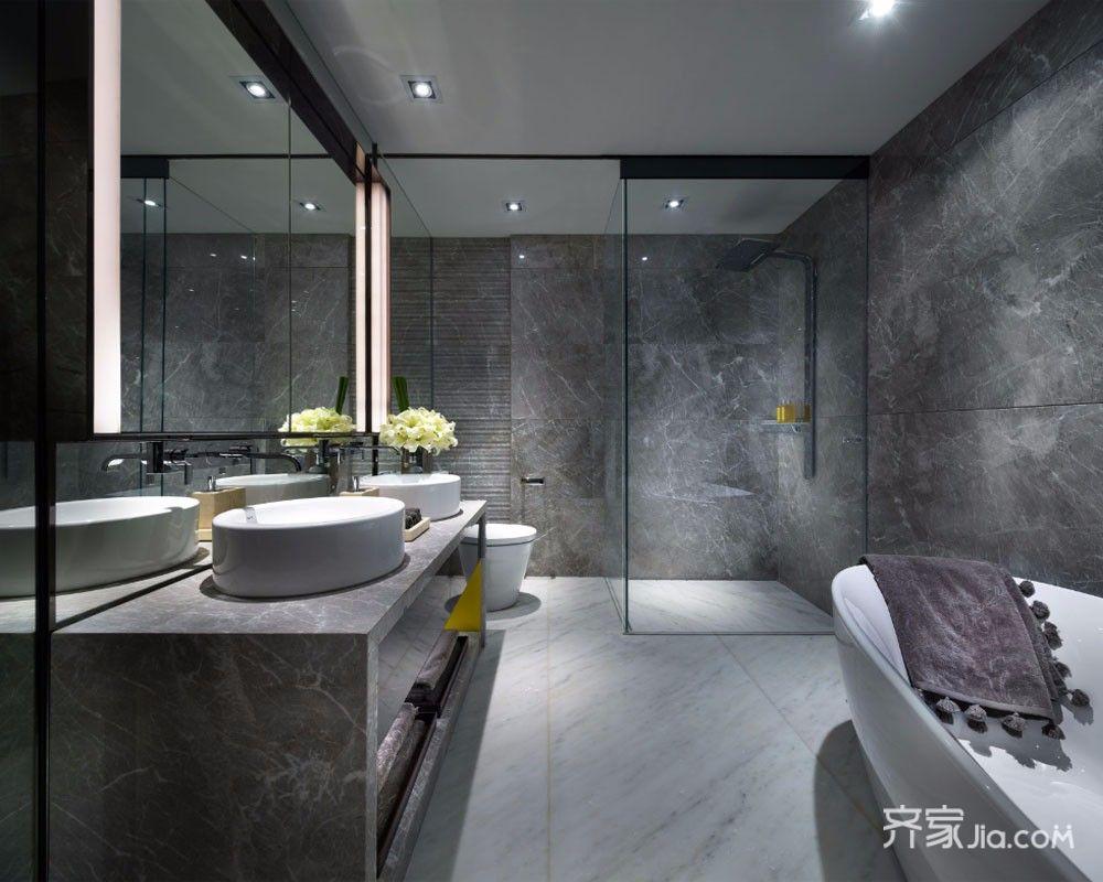 160㎡美式风格装修卫生间装潢图