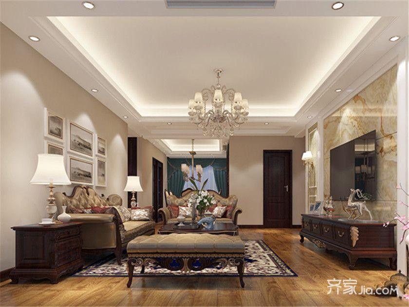 120㎡欧式风格装修客厅效果图