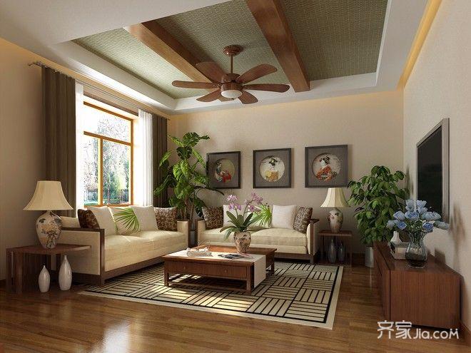 二居室日式风格家客厅效果图