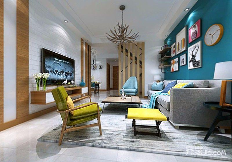 100平米简约风格装修客厅效果图