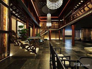 680平中式工装茶楼大堂客厅全景图