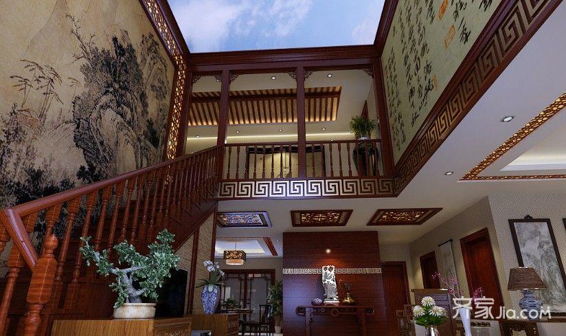 大户型中式风格设计楼梯图片