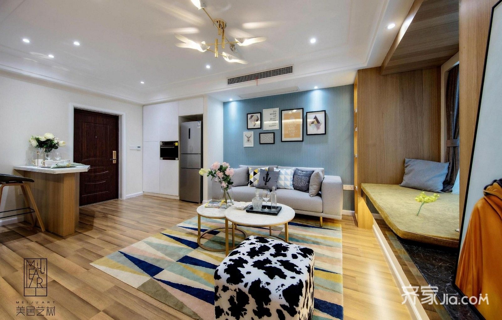 欧式二居室样板间客厅效果图