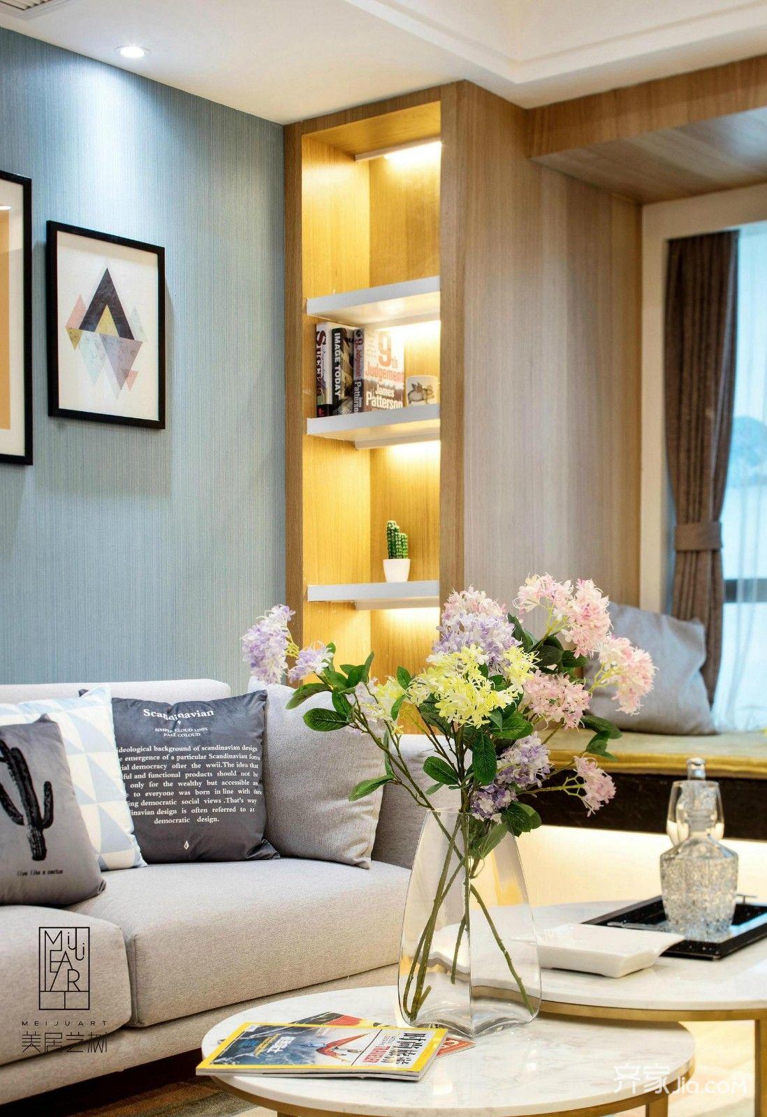 欧式二居室样板间书架图片