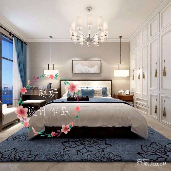 150㎡中式风格装修卧室设计图