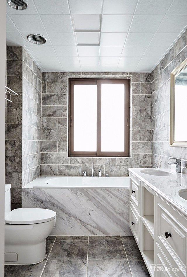 美式三居室装修卫生间装潢图