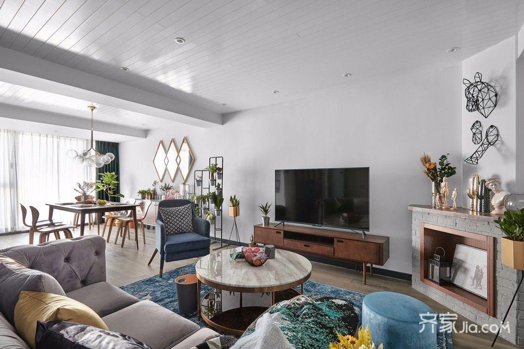140平简约风格装修客厅效果图