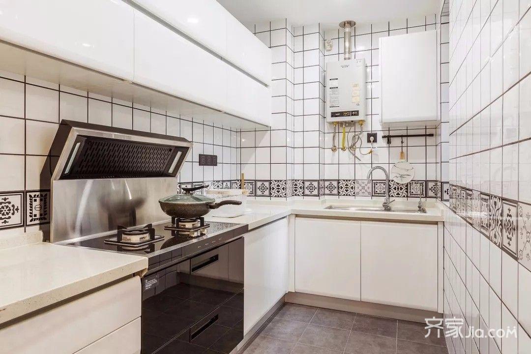 二居室简约风格装修厨房实景图