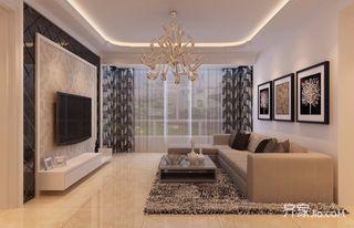 80平米现代简约风格装修客厅效果图