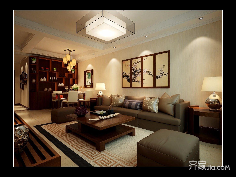 90平的中式装修沙发背景墙图片