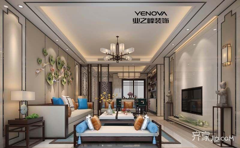 130平中式风格三居室装修吊顶效果图