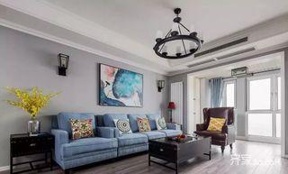 120㎡美式风格三居室装修客厅欣赏图