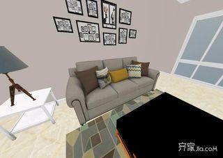 96平米简约风格二居室装修客厅布置图
