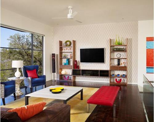简欧风格电视墙效果图 精美别致的电视墙设计图片