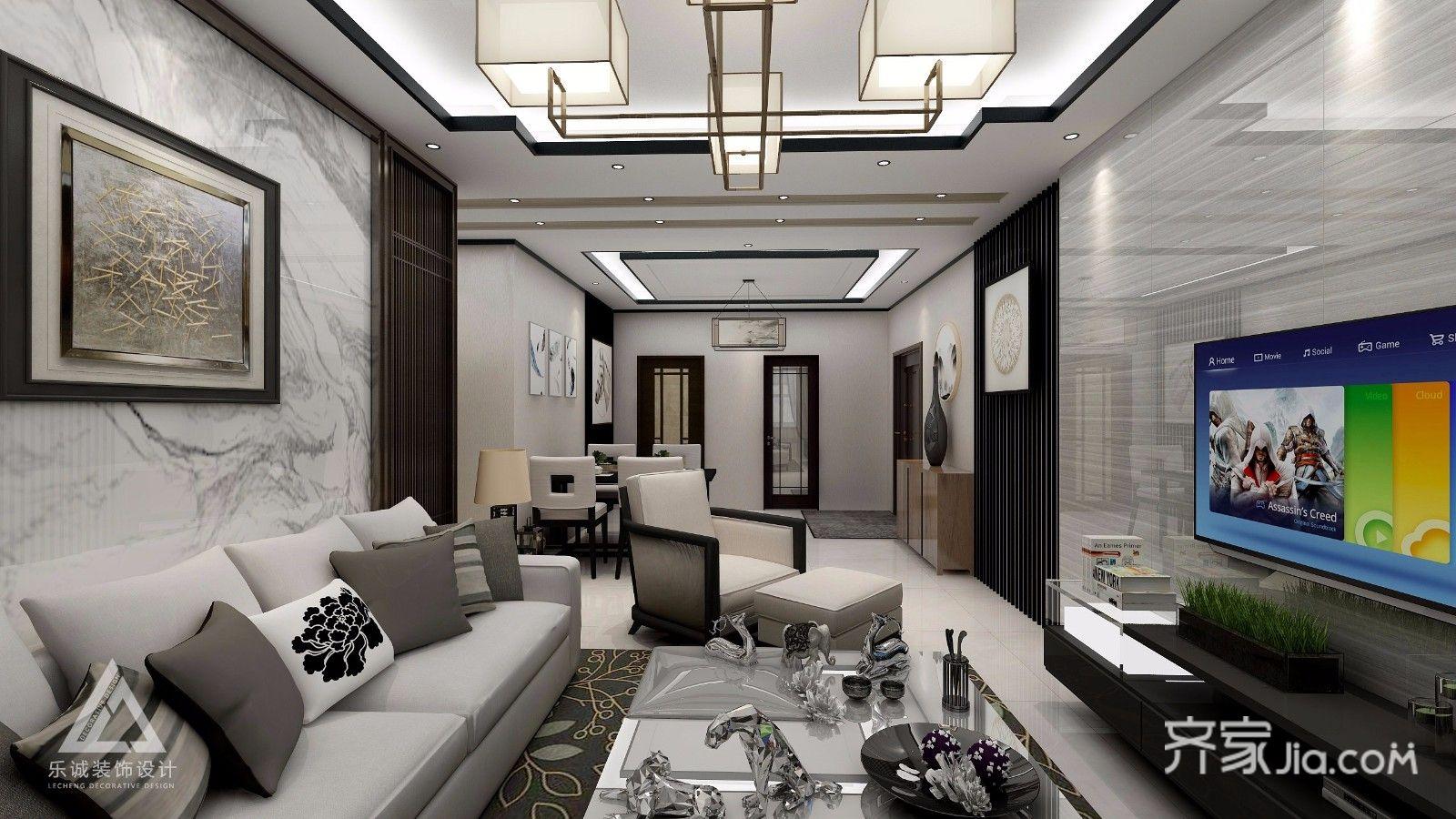 客厅 新中式风格,横木纹瓷砖,竖格栅木质花格混搭影视墙,搭配黑色