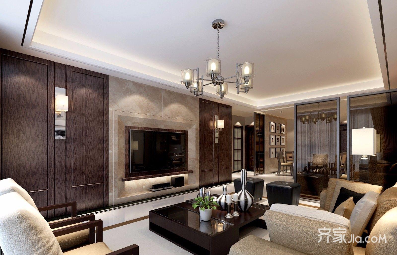 电视背景墙采用深浅对比,胡桃木是买呢装饰,壁灯点缀.图片