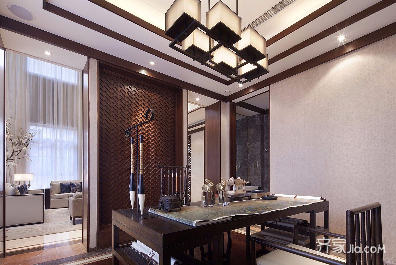 9万108平米中式三居室装修效果图,复式设计禅意中式