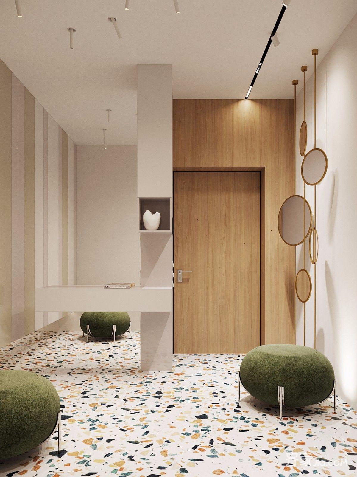 居家部分以素色为基础,水磨石素材顺便形塑风格,居家简单拥有意式风情