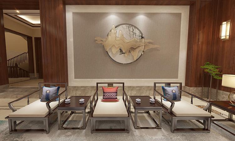 中式|客厅3D效果图