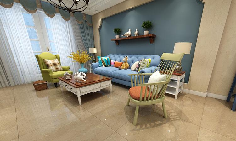 田园|客厅,餐厅,厨房,卫生间,阳台3D效果图