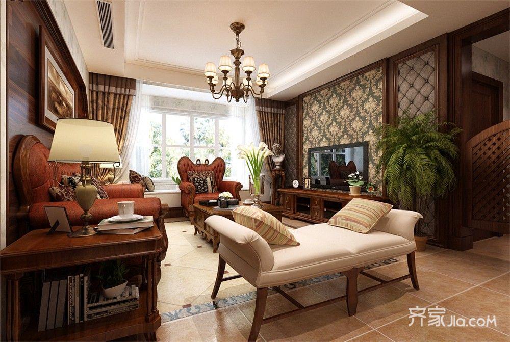 沙发采用的是木线加红色皮质的材质,餐厅是木质边框加布艺的餐椅.
