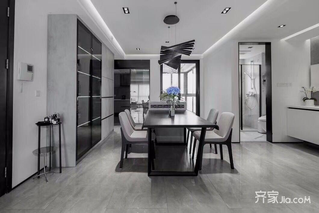 8万100平米简约三居室装修效果图,极简装修案例效果