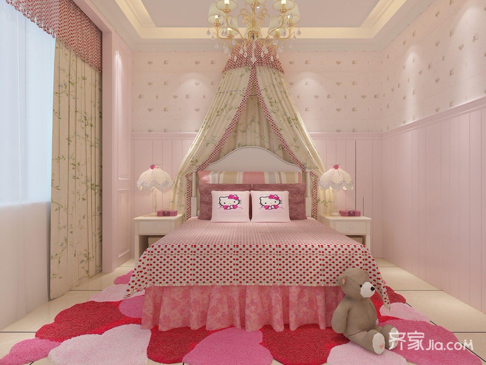 公主房粉彩代表女孩的公主梦,是父母的小公主,学习桌给孩子一个学习的