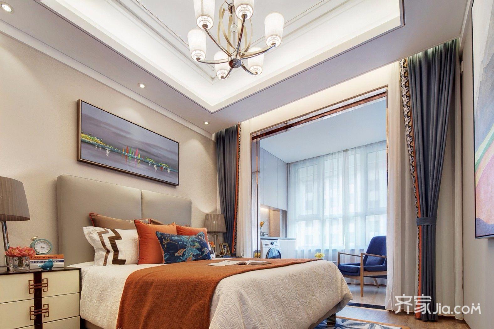 13万93平米古典三居室装修效果图,93平复古风装修案例图片