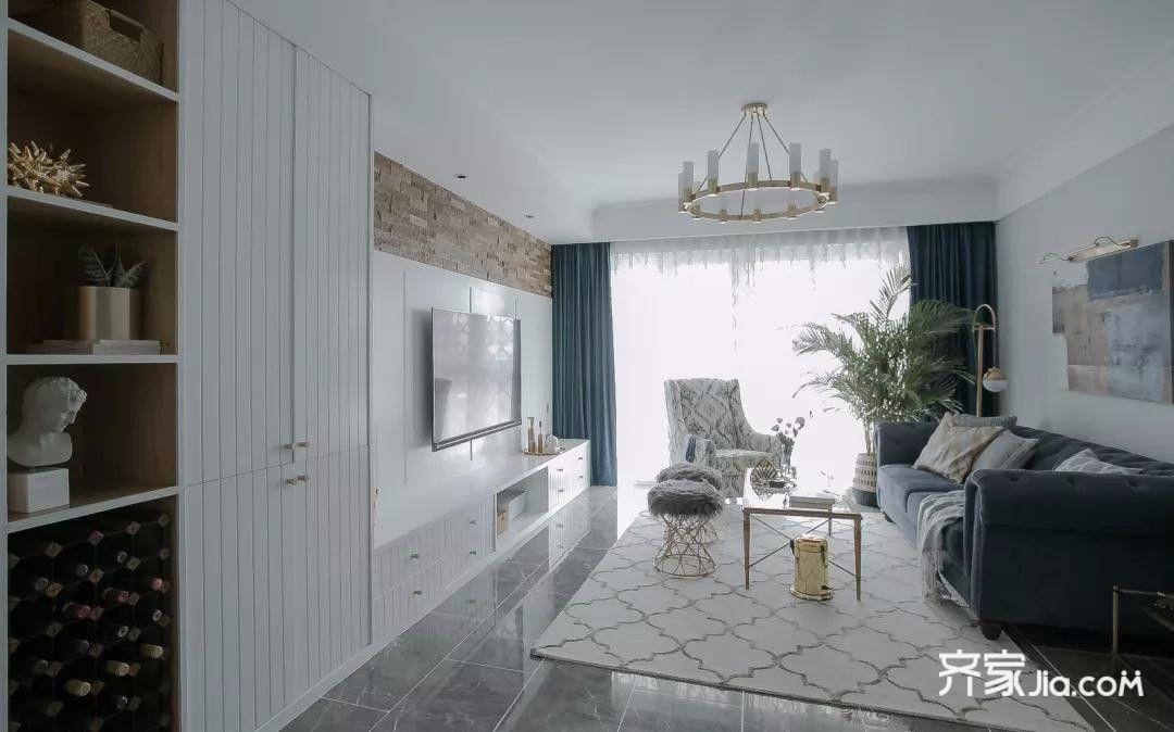 0万135平米欧式三居室装修效果图,135㎡精致轻奢北欧
