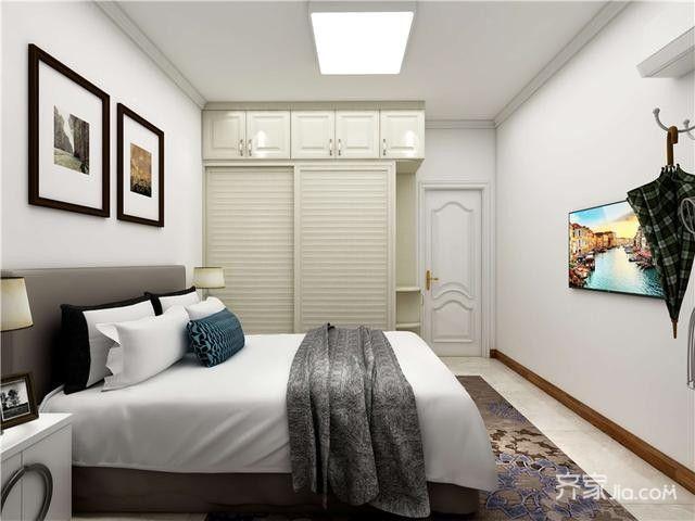 简约推拉式衣柜,节省室内空间,角落弧形的展架设计,摆放个性的装饰品图片