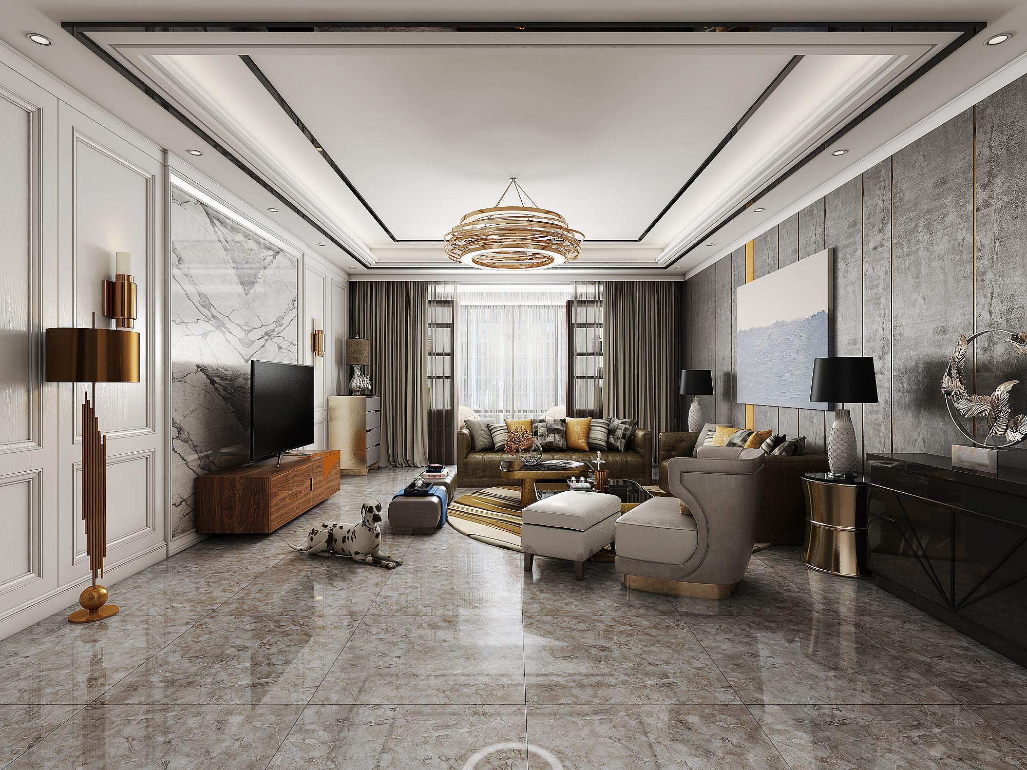 窗帘与室内装修色调的搭配—后现代风格